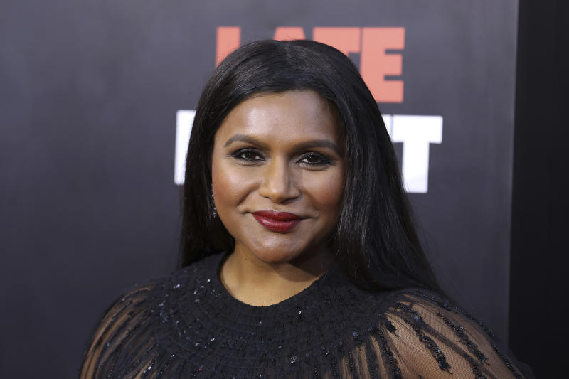 "Mindy Kaling attends the premiere of ""Late Night"" at the Orpheum Theatre on Thursday, May 30, 2019, in Los Angeles. (Photo by Mark Von Holden/Invision/AP)"