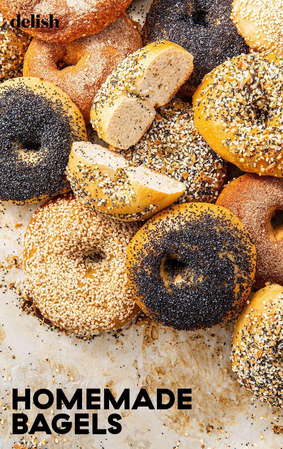 """<p>Made with love and lots of toppings.</p><p>Get the recipe from <a href=""""https://www.delish.com/cooking/recipe-ideas/a30324798/homemade-bagel-recipe/"""" rel=""""nofollow noopener"""" target=""""_blank"""" data-ylk=""""slk:Delish"""" class=""""link rapid-noclick-resp"""">Delish</a>.</p>"""