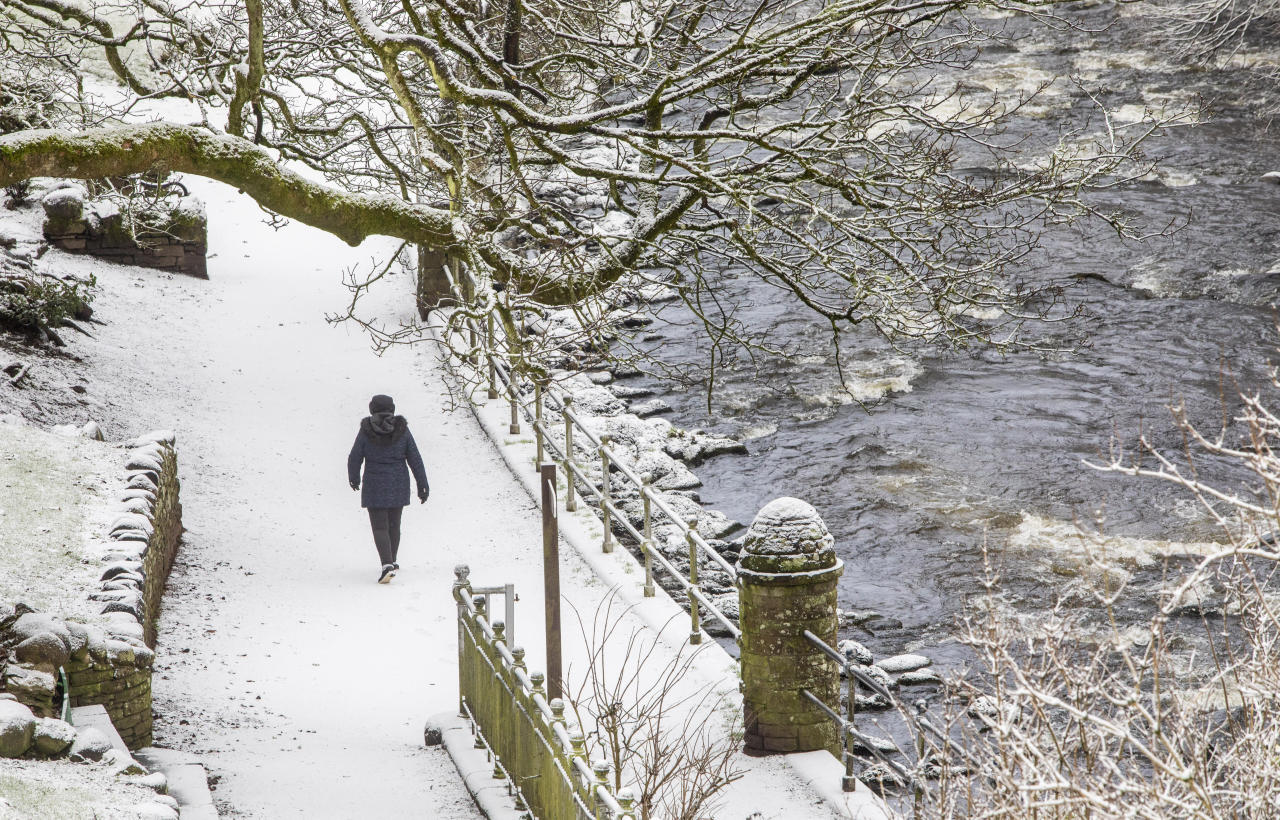 <p>A chilly walker strolls near a frozen pond in Dunblane, Scotland. (SWNS) </p>