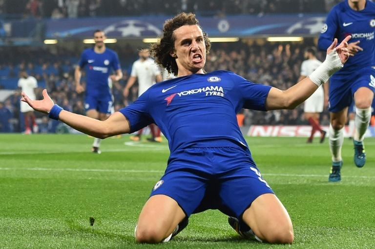 Chelsea's defender David Luiz celebrates after scoring during a UEFA Champions league match against Roma at Stamford Bridge in London on October 18, 2017