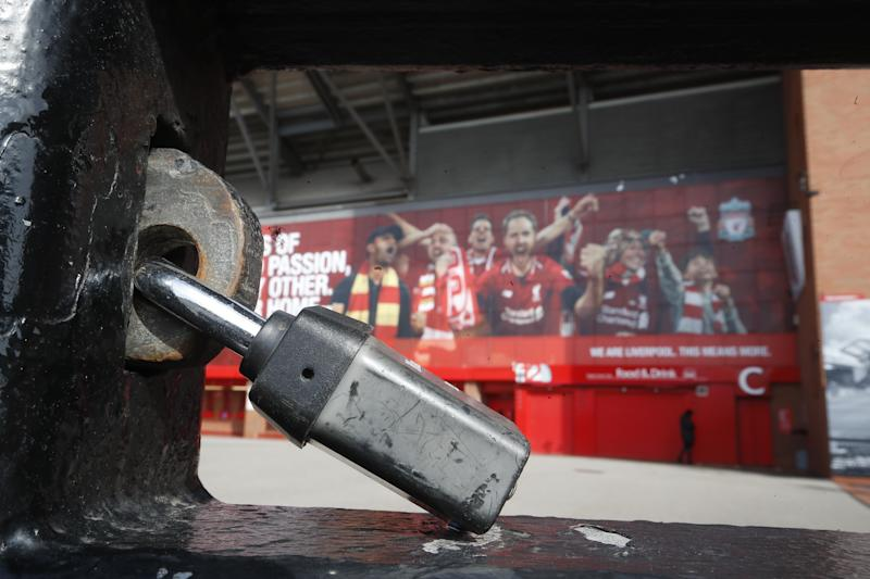 Liverpool's Anfield and the rest of the the Premier League's stadiums will remain shuttered until April 30 at the earliest. (Martin Rickett/Getty)