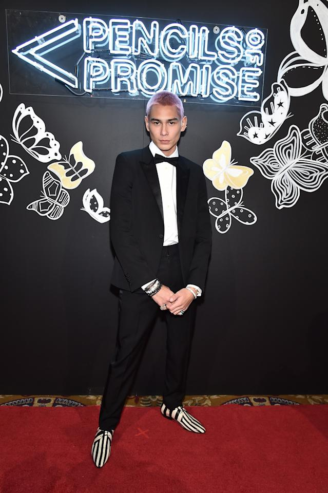 <p>WHAT: Saint Laurent by Anthony Vaccarello </p> <p>WHERE: Pencils Of Promise 2019 Gala in New York </p> <p>WHEN: November 4, 2019 </p> <p>WHY: Classic black-tie worn like a true 20-something skateboarder slash model.</p>