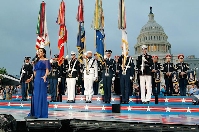 "<p>Auli'i Cravalho of the hit Disney film ""Moana"" performs the national anthem at PBS' 2017 National Memorial Day Concert at the U.S. Capitol on May 28, 2017, in Washington, DC. (Photo: Paul Morigi/Getty Images for Capital Concerts) </p>"