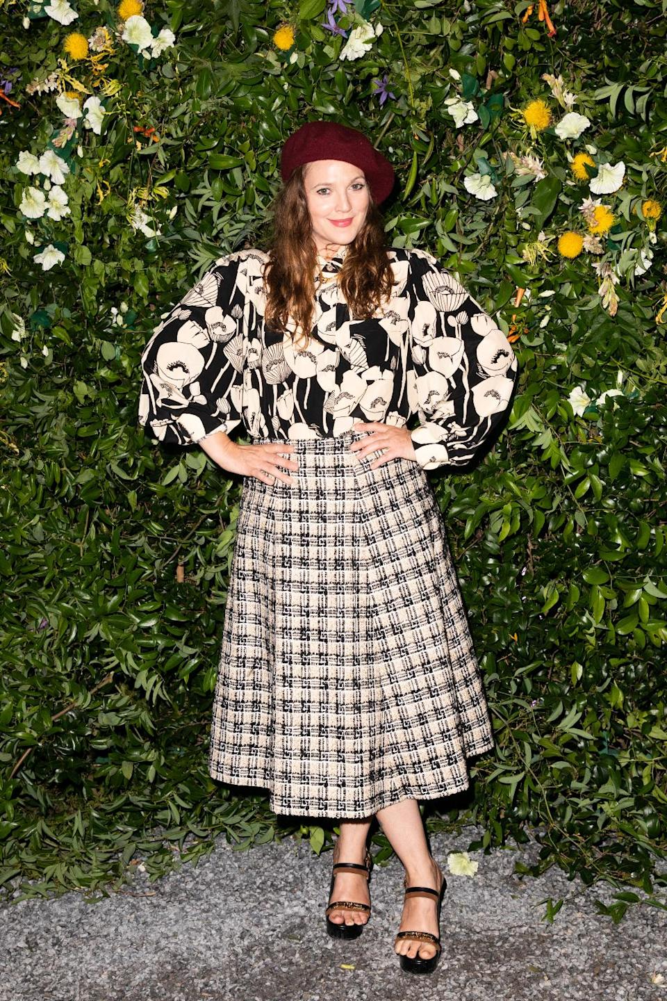 Drew Barrymore attends Gucci and Elizabeth Saltzman's private event at the Saltzman family home in the Hamptons, New York, July 10. - Credit: BFA FOR GUCCI