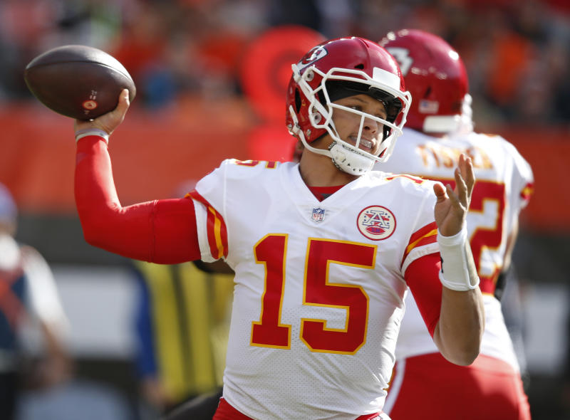 FILE - In this Sunday, Nov. 4, 2018 file photo, Kansas City Chiefs quarterback Patrick Mahomes throws during the first half of an NFL football game against the Cleveland Browns in Cleveland. What some are calling the NFL's Game of the Year already has made huge headlines by being moved out of Mexico City because of poor playing conditions. Chiefs-Rams is back in Los Angeles. (AP Photo/Ron Schwane, File)