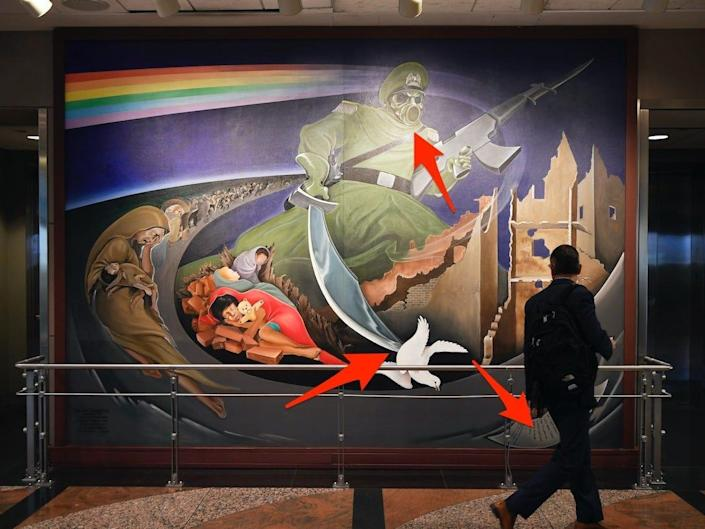 """The mural """"Children of the World Dream Peace."""""""