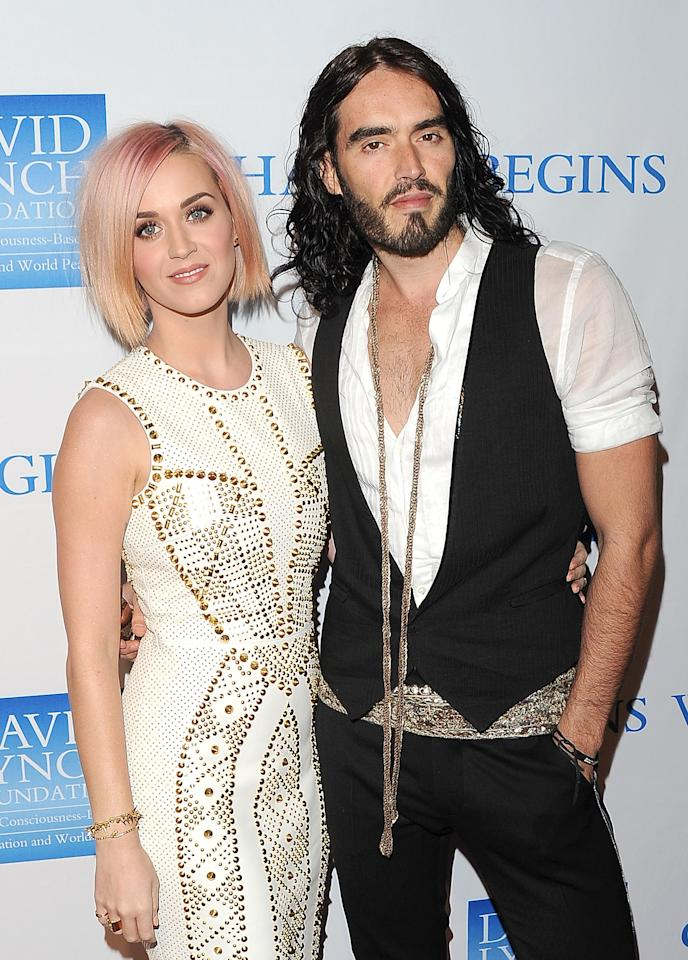 "LOS ANGELES, CA - DECEMBER 03:  Singer Katy Perry (L) and actor Russell Brand attend the 3rd Annual ""Change Begins Within"" Benefit Celebration presented by The David Lynch Foundation held at LACMA on December 3, 2011 in Los Angeles, California. (Photo by Jason Merritt/Getty Images)"