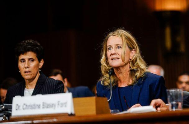 PHOTO: Christine Blasey Ford, with lawyer Debra S. Katz, left, answers questions at a Senate Judiciary Committee hearing on Thursday, Sept. 27, 2018 on Capitol Hill. (Melina Mara-Pool/Getty Images)