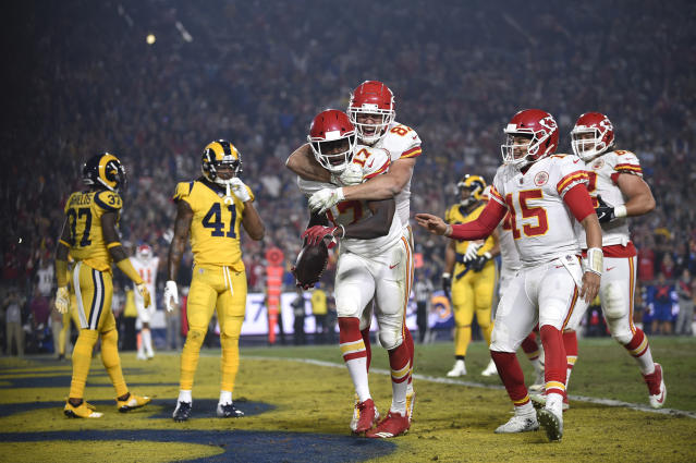 The Kansas City Chiefs and Los Angeles Rams combined for 105 points and 1,001 yards on a Monday night classic. (AP)
