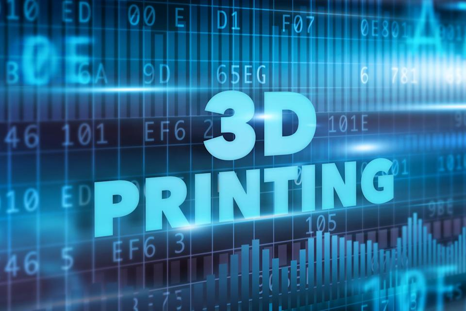 """""""3D PRINTING"""" written in light blue in front of a light and dark blue stock chart background."""