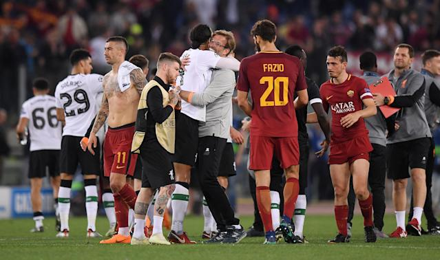 Soccer Football - Champions League Semi Final Second Leg - AS Roma v Liverpool - Stadio Olimpico, Rome, Italy - May 2, 2018 Liverpool manager Juergen Klopp celebrates with Virgil van Dijk after the match REUTERS/Alberto Lingria