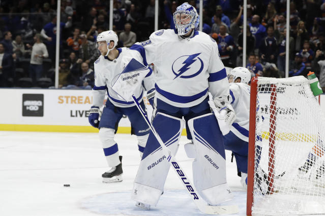 Tampa Bay Lightning goaltender Andrei Vasilevskiy (88) reacts after New York Islanders' Mathew Barzal scored during the second period of an NHL hockey game Friday, Nov. 1, 2019, in Uniondale, N.Y. (AP Photo/Frank Franklin II)
