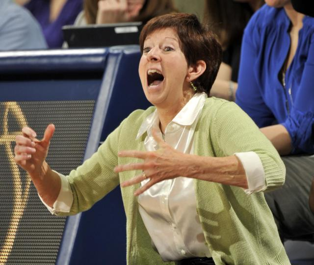 Notre Dame coach Muffet McGraw reacts to play during the second half of an NCAA college basketball game, Thursday, Jan. 30, 2014 in South Bend, Ind. Notre Dame won 74-48 moving their record to 20-0. (AP Photo/Joe Raymond)