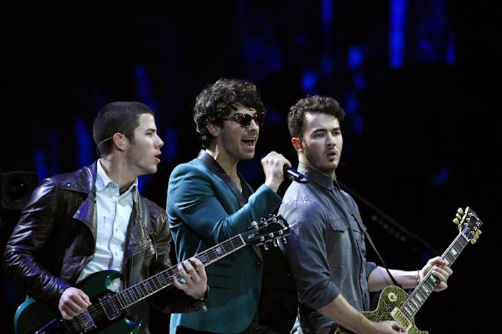 The Jonas Brothers, perform at the Vina del Mar International Song Festival in Vina del Mar, Chile, Tuesday, Feb. 26, 2013. Believed to be one of the largest musical events in Latin America, the annual 5-day festival was inaugurated in 1960. (AP Photo/Luis Hidalgo)