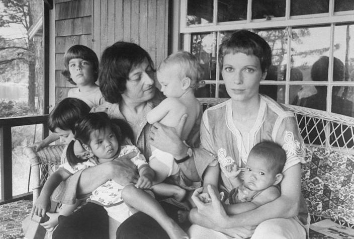 <p>Andre Previn and his wife, Mia Farrow, with their children at home on Martha's Vineyard in 1974.</p>