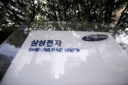The logo of Samsung Electronics is seen in front of its office building in Seoul
