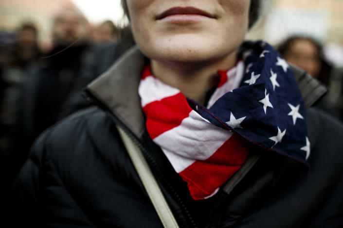 <p>Protesters critical of the recent election of Donald Trump as U.S. president gather for a demonstration near the Brandenburg Gate on Nov. 12, 2016 in Berlin, Germany. (Carsten Koall/Getty Images) </p>