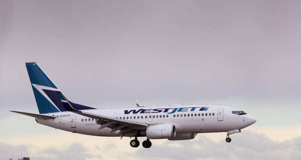 A WestJet airplane comes in for a landing at Calgary International airport, home of Canada's WestJet Airlines in Calgary, Alberta, May 5, 2009. WestJet Airlines Ltd posted a smaller-than-expected drop in quarterly earnings on Tuesday and said it expected to emerge stronger than ever from a global slowdown in air travel, sending its shares surging.  REUTERS/Todd Korol (CANADA BUSINESS TRANSPORT)