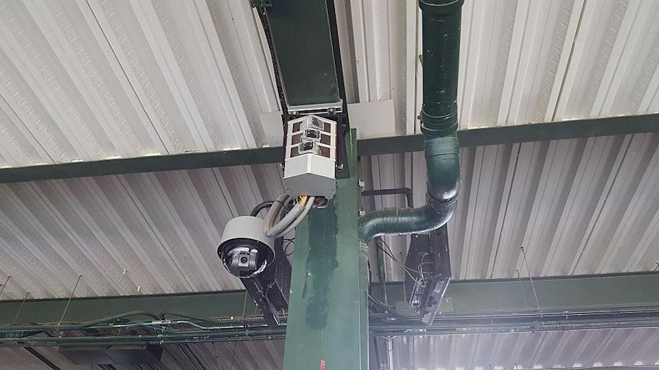Statcast cameras, like this one at Globe Life Park, record high-def video of every pitch of each game. (Fort Worth Star-Telegram via Getty)