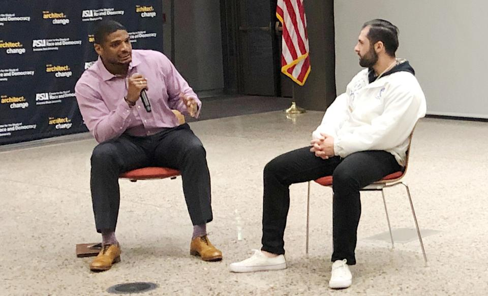 Michael Sam answers questions following a speech at Arizona State University in February. (Courtesy of Annika Tomlin)