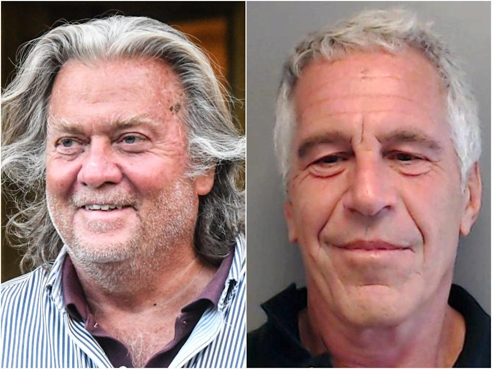 Steve Bannon has been accused of media coaching Jeffrey Epstein in 2019, an allegation Mr Bannon denies (Getty)