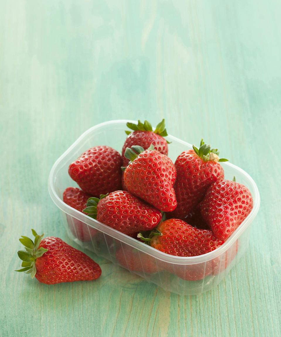 "<h3>Strawberries</h3><br>One cup of strawberries just about fills your vitamin C intake for the day, equaling almost <a href=""https://nutritiondata.self.com/facts/fruits-and-fruit-juices/2064/2"" rel=""nofollow noopener"" target=""_blank"" data-ylk=""slk:99% of the recommended daily value"" class=""link rapid-noclick-resp"">99% of the recommended daily value</a>.<span class=""copyright"">Photo: Getty Images.</span>"