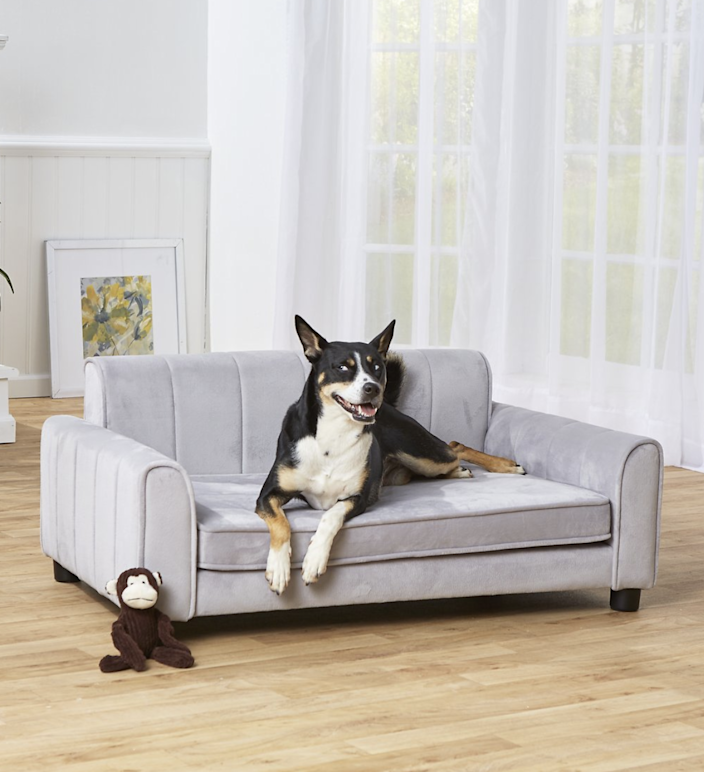 "$390, Chewy. <a href=""https://www.chewy.com/enchanted-home-pet-ludlow-sofa-dog/dp/206955"" rel=""nofollow noopener"" target=""_blank"" data-ylk=""slk:Get it now!"" class=""link rapid-noclick-resp"">Get it now!</a>"