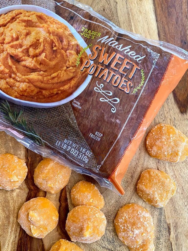 """<p>I usually buy whole raw sweet potatoes from Trader Joe's and roast a big batch on Sunday to enjoy during the week, but we go through them so fast since my whole family loves them as well. I love eating roasted sweet potato with broccoli as my first meal, so if I run out, these <a href=""""https://www.popsugar.com/fitness/healthy-ways-to-use-trader-joe-frozen-mashed-sweet-potato-47891226"""" class=""""link rapid-noclick-resp"""" rel=""""nofollow noopener"""" target=""""_blank"""" data-ylk=""""slk:frozen mashed sweet potatoes"""">frozen mashed sweet potatoes</a> are are ready in just a few minutes. One 10-pice serving is 110 calories and offers four grams of fiber and two grams of protein.</p>"""