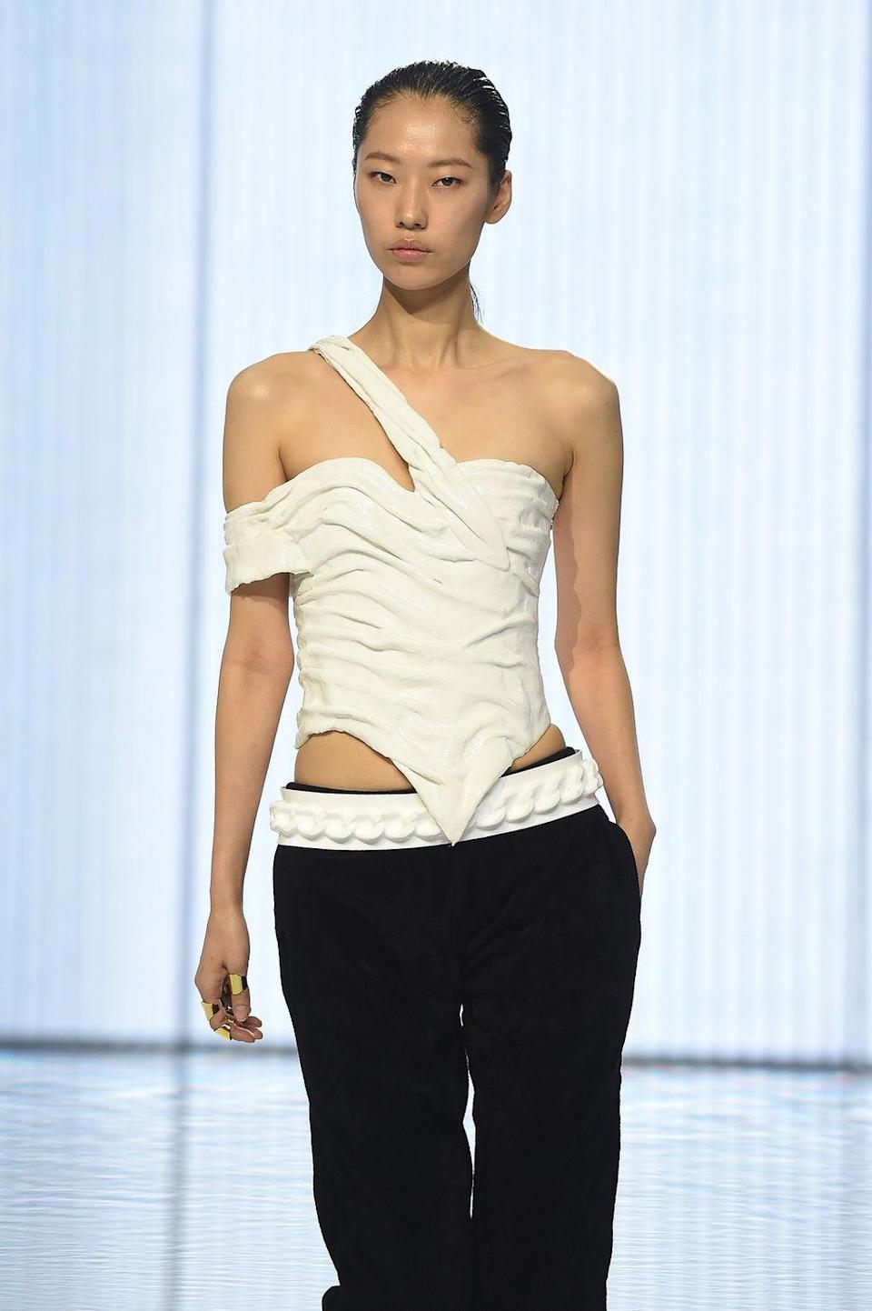 A model on the runway at Balmain for the brand's spring/summer 2022 show. (Getty Images)