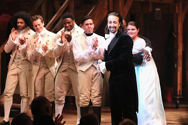 """Lin-Manuel Miranda performs at """"Hamilton"""" Broadway Opening Night at Richard Rodgers Theatre on August 6, 2015 in New York City. (Photo by Neilson Barnard/Getty Images)"""