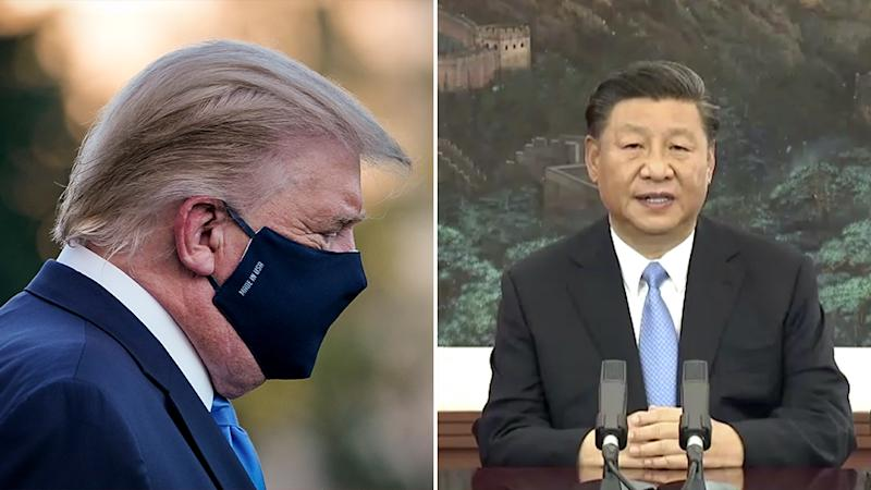 Chinese President Xi Jinping is pictured right and US President Donald Trump is seen left wearing a mask.