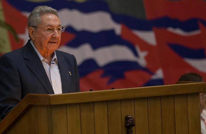 President Raul Castro giving a speech during the opening of VII Congress of Cuban Communist Party (PCC) at Convention Palace in Havana, on April 16, 2016 (AFP Photo/Ismael Francisco)