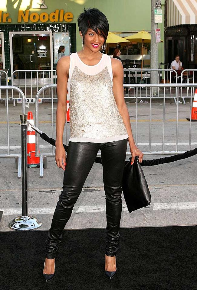 "Hot on her heels was R&B star Ciara, who sported a short 'n' sassy new 'do, along with a Gryphon sequined tank, skinny leather pants, and black pumps. Jesse Grant/<a href=""http://www.wireimage.com"" target=""new"">WireImage.com</a> - July 21, 2009"