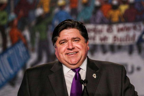 PHOTO: In this file photo, Ill. Governor J.B. Pritzker delivers remarks at the North America's Building Trades Unions (NABTU) 2019 legislative conference in Washington on April 9, 2019. (Jeenah Moon/Reuters, FILE)