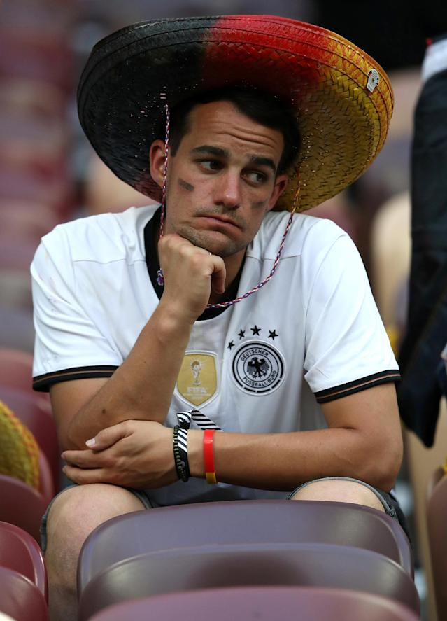 Soccer Football - World Cup - Group F - Germany vs Mexico - Luzhniki Stadium, Moscow, Russia - June 17, 2018 Germany fan looks dejected after the match REUTERS/Carl Recine TPX IMAGES OF THE DAY