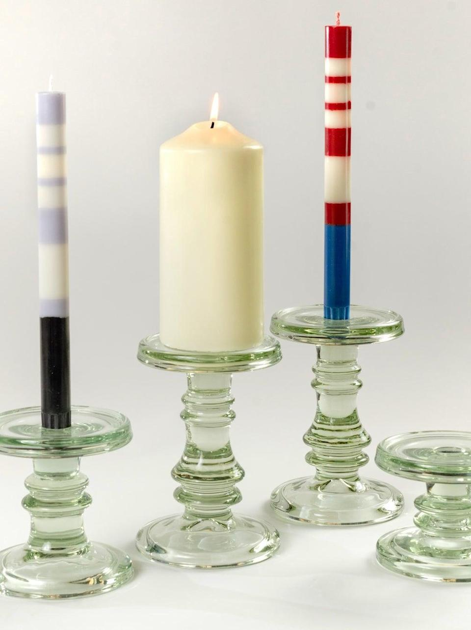 """<br><br><strong>REfound</strong> Chunky Glass Candlesticks, $, available at <a href=""""https://www.re-foundobjects.com/product/view/chunky-glass-candlesticks?cat=53"""" rel=""""nofollow noopener"""" target=""""_blank"""" data-ylk=""""slk:REfound"""" class=""""link rapid-noclick-resp"""">REfound</a>"""