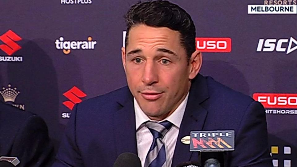 Slater fought back tears confirming his retirement. Pic: Fox Sports