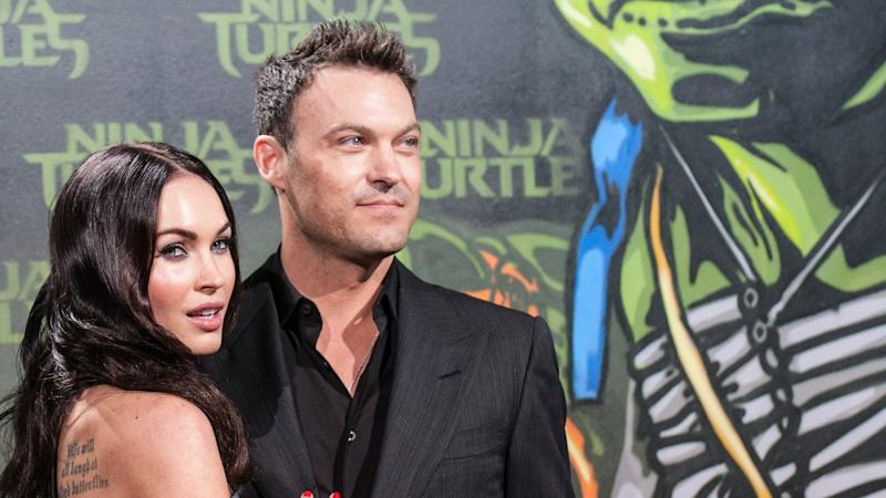 "Megan Fox und Brian Austin Green 2014 bei der Deutschlandpremiere des Films ""Teenage Mutant Ninja Turtles""."