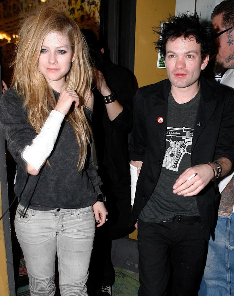 """Although Avril Lavigne has said she and her ex-hubby-to-be Deryck Whibley are just good friends, the duo was photographed in Hollywood over the weekend getting matching tattoos. Could they be giving their relationship another go? Campos/<a href=""""http://www.x17online.com"""" target=""""new"""">X17 Online</a> - March 21, 2010"""