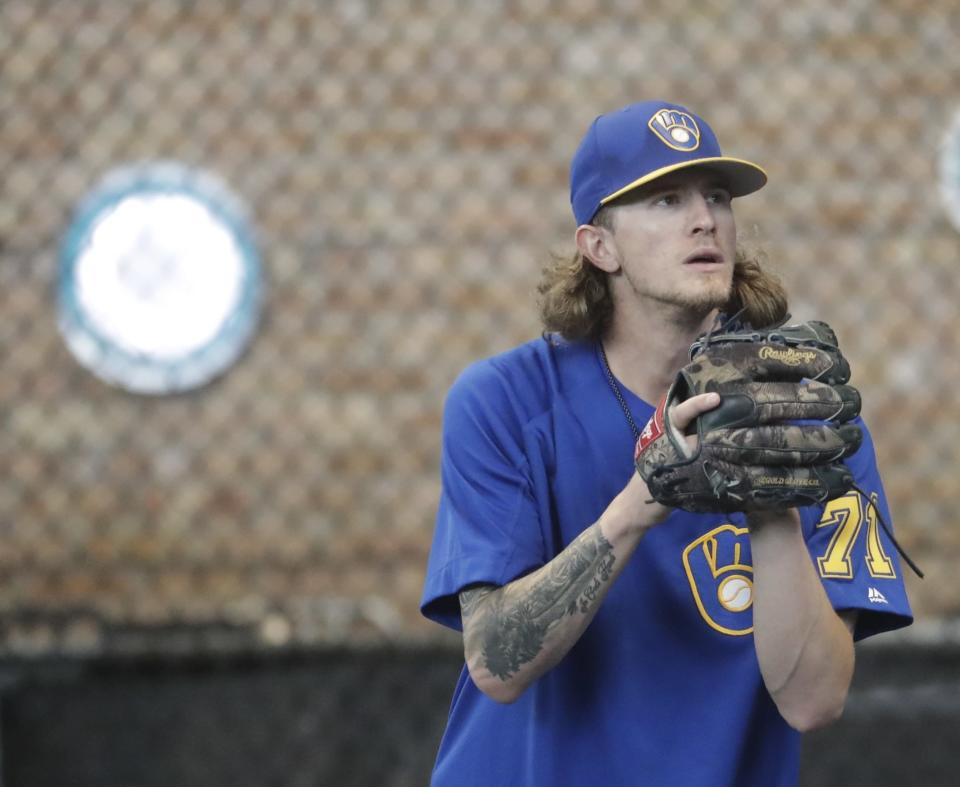 Josh Hader was booed by Giants fans in his first road appearance since his offensive tweets surfaced. (AP Photo)