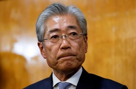 FILE PHOTO : Japanese Olympic Committee President Takeda looks on while addressing media in Tokyo