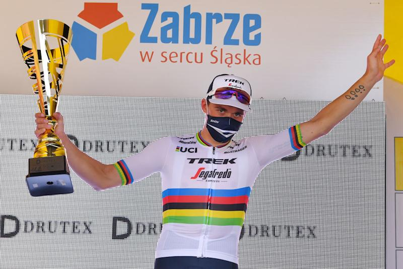Road race world champion Mads Pedersen (Trek-Segafredo) won stage 2 of the 2020 Tour de Pologne and dedicated his victory to the injured Fabio Jakobsen (Deceuninck-QuickStep) who was seriously injured in a crash on stage 1