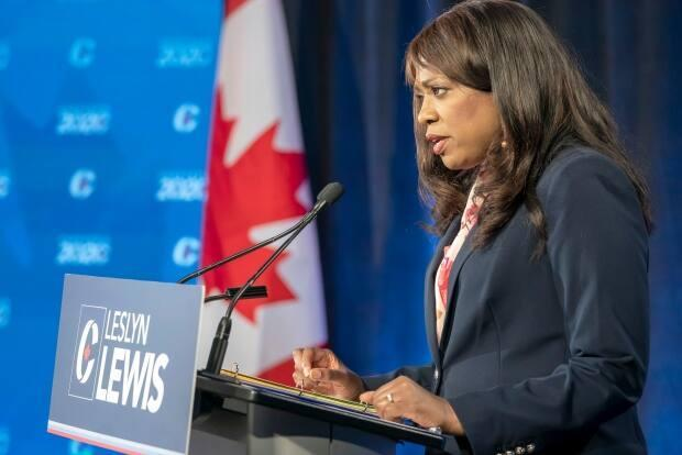 Former Conservative Party of Canada leadership candidate Leslyn Lewis makes her opening statement at the start of the French Leadership Debate in Toronto on Wednesday, June 17, 2020.