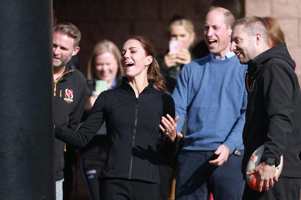 The Duke and Duchess of Cambridge during a visit to the City of Derry rugby club (PA) (PA Wire)
