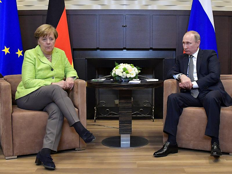 Russian President Vladimir Putin meets with German Chancellor Angela Merkel at the Bocharov Ruchei state residence in Sochi, Russia: Reuters
