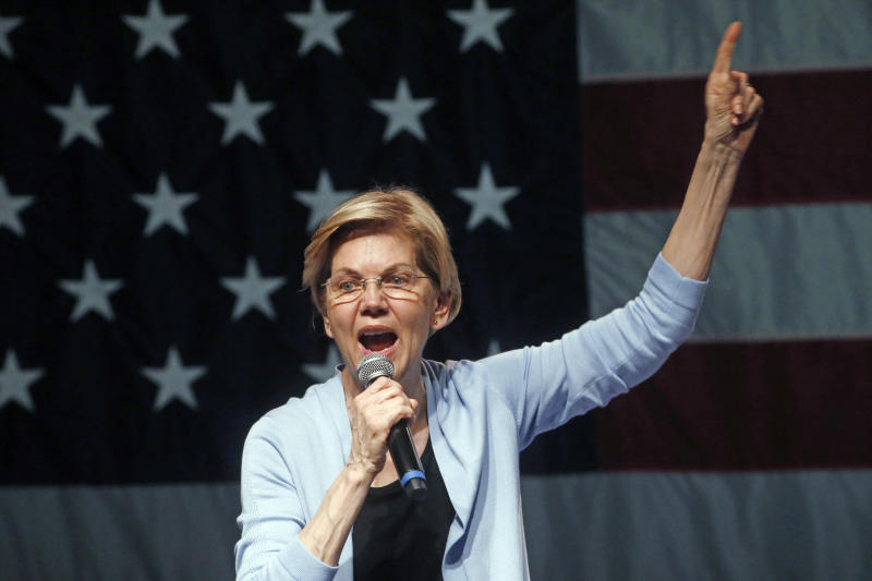 On Monday, Democratic presidential candidate Elizabeth Warren proposed a plan to cancel current student debt and make public college free.  (ASSOCIATED PRESS)