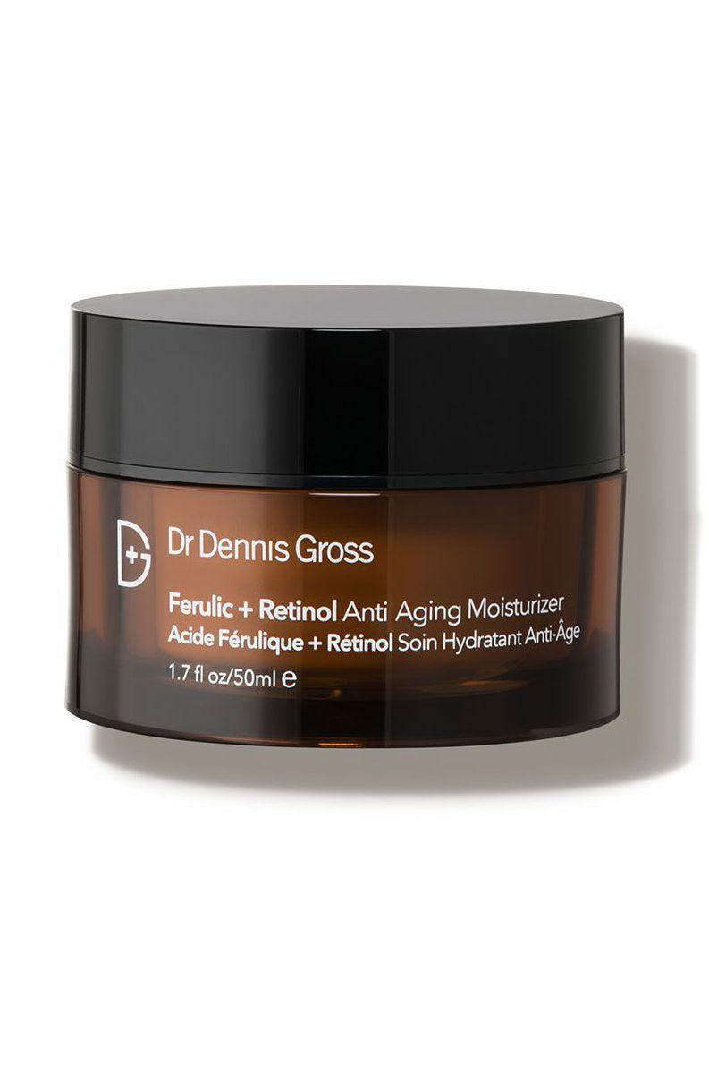 """<p><strong>Dr. Dennis Gross Skincare</strong></p><p>dermstore.com</p><p><strong>$75.00</strong></p><p><a href=""""https://go.redirectingat.com?id=74968X1596630&url=https%3A%2F%2Fwww.dermstore.com%2Fproduct_Ferulic%2BRetinol%2BAntiAging%2BMoisturizer_59449.htm&sref=https%3A%2F%2Fwww.marieclaire.com%2Fbeauty%2Fg34015100%2Fanti-aging-moisturizers%2F"""" rel=""""nofollow noopener"""" target=""""_blank"""" data-ylk=""""slk:SHOP IT"""" class=""""link rapid-noclick-resp"""">SHOP IT</a></p><p>Retinol is key for aging gracefully. This cream works to protect and strengthen the skin while also reducing hyperpigmentation and dark spots.</p>"""