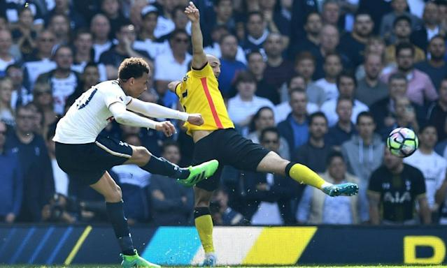 "<span class=""element-image__caption"">Dele Alli curls home his 10th Premier League goal of the season to give Tottenham the lead against Watford.</span> <span class=""element-image__credit"">Photograph: Dan Mullan/Getty Images</span>"