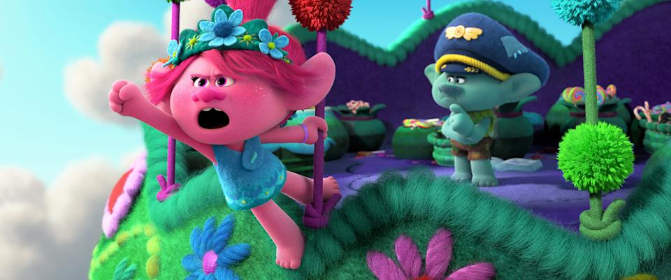 """Poppy (left, voiced by Anna Kendrick) and Branch (Justin Timberlake) return in the animated sequel """"Trolls World Tour."""""""