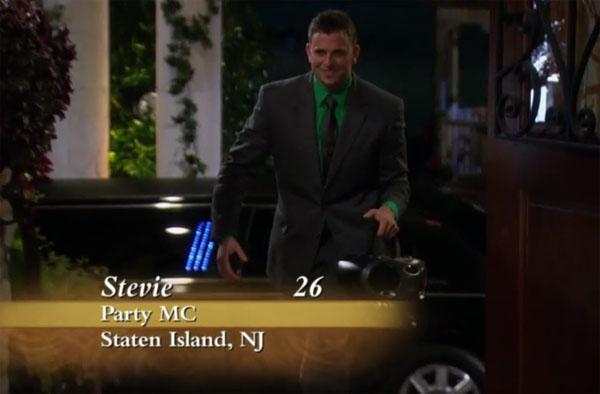 """Stevie, a party MC, came in dancing with boom box in hand. (Is this """"The Bachelorette"""" or """"<span>America's Got Talent</span>""""?)"""